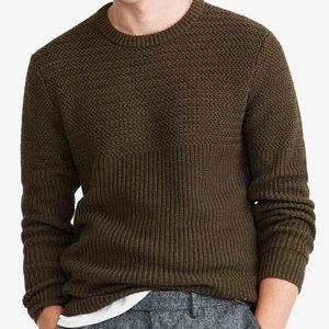 J.CREW Half-Ribbed Cotton Crewneck Sweater in Olive Green Size L NEW WITH TAG